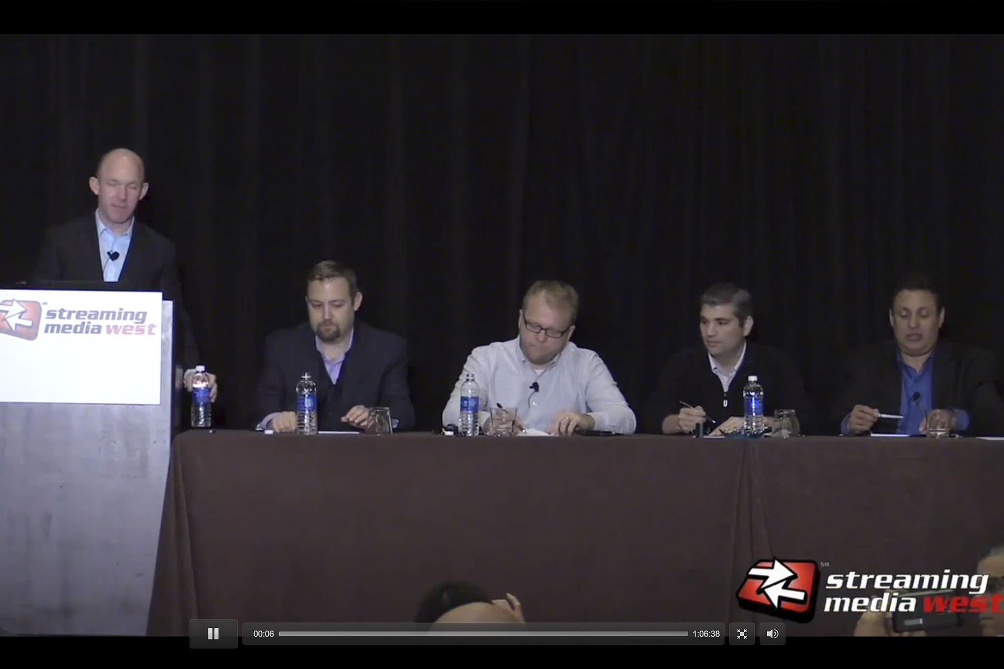 Mark Donnigan moderating panel at Streaming Media