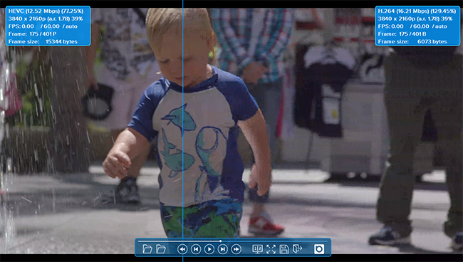 VCT split screen comparison mode for subjective video quality assessment